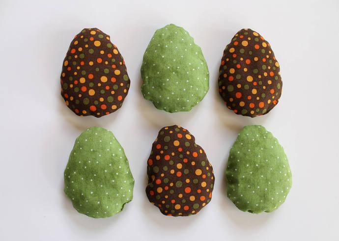 Green & Brown Dinosaur Egg Shaped Bean Bags (Rice-filled), Children's Toy, Toss