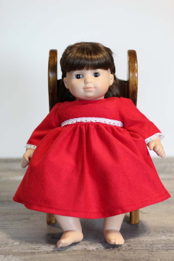 Fuzzy Red Doll Nightgown, Christmas Pajamas, Doll Nightie, Holiday Gift, Fits 14