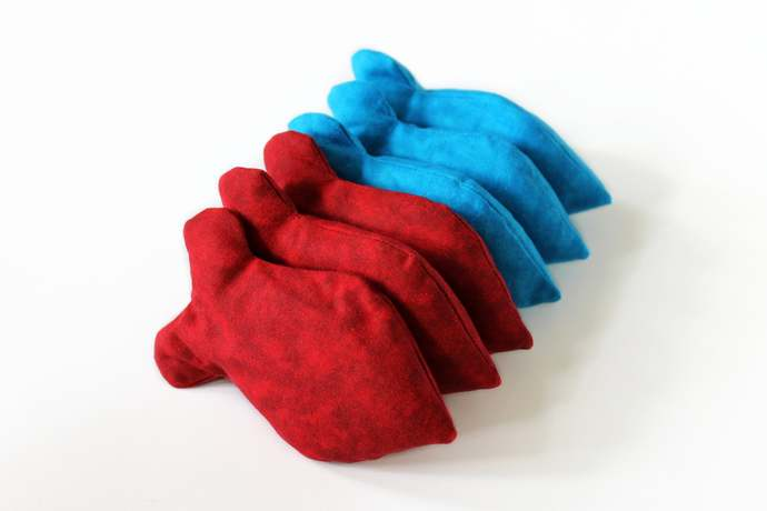 Red & Blue Goldfish Shape Bean Bags for Birthday Party Toss Games (set of 6),