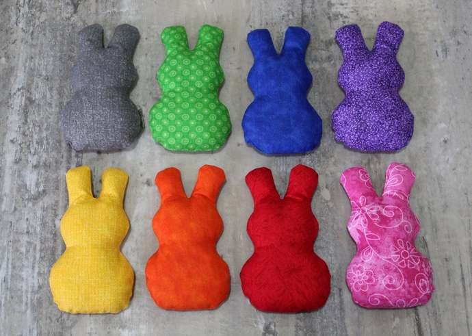 Rainbow Bunny Shapes Bean Bags (set of 8), Handmade in Gray, Purple, Blue,