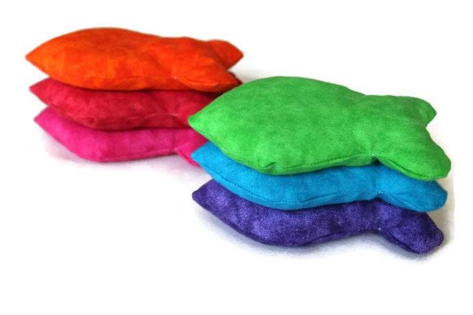 Rainbow Goldfish Shaped Bean Bags (set of 6) for Sensory Games, Educational Toy,