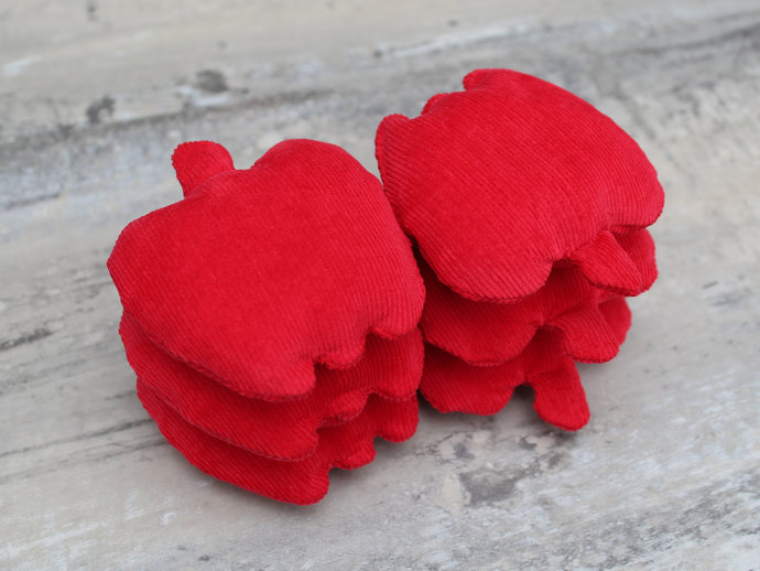 Bright Red Apple Shaped Bean Bags (set of 6) in Crimson Corduroy for Autumn