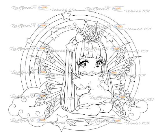 Princess On A Cloud - Digital Stamp
