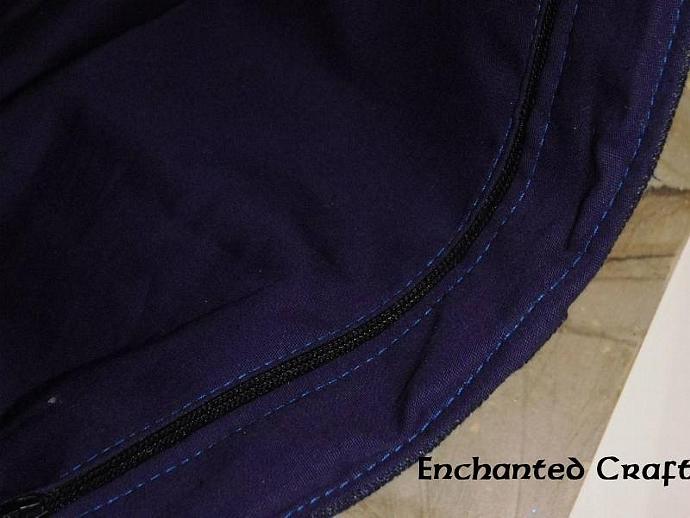 Designer Upcycled Denim Owl Purse with zippered pocket