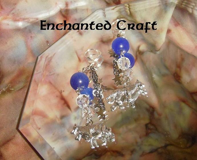 Blue Moon Wolves earrings- silver lever back