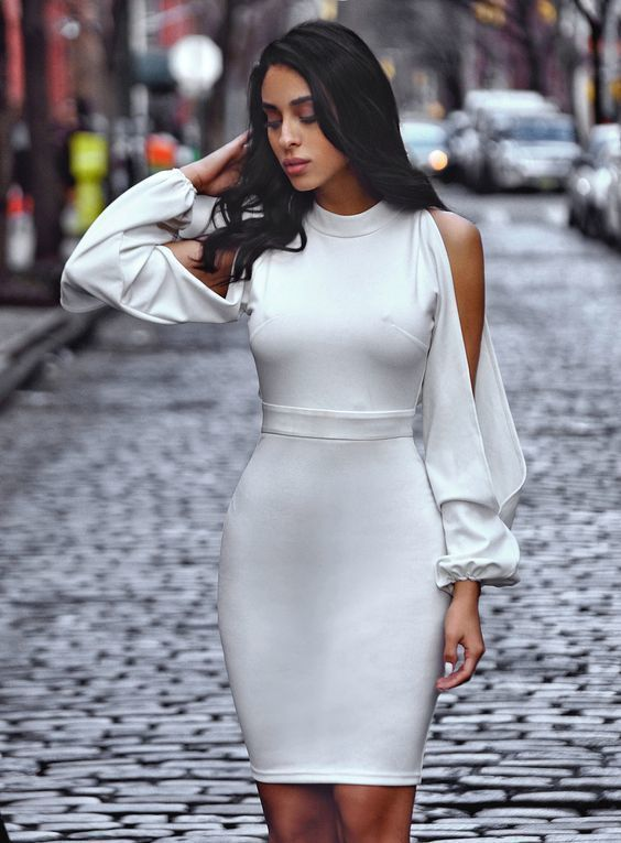 White Cut Out Sleeve Homecoming Dress