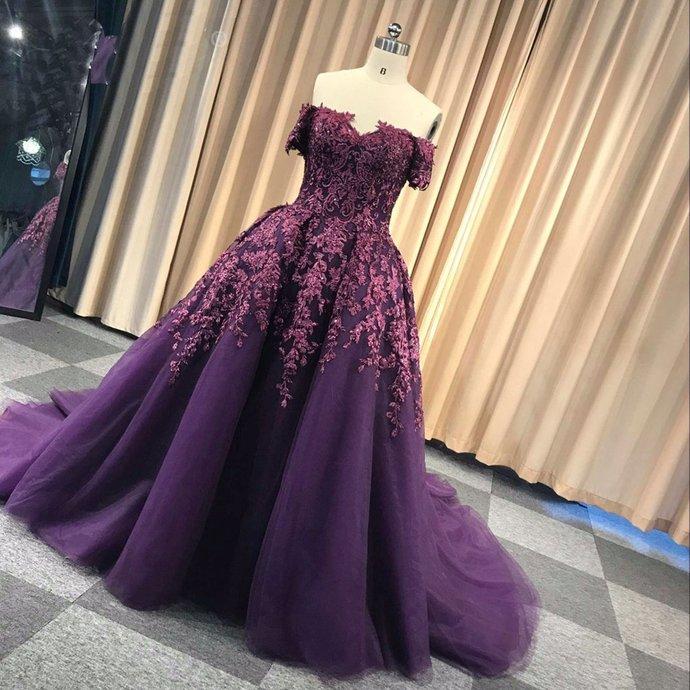 deep purple prom dress ball gown detachable skirt lace appliqué elegant real