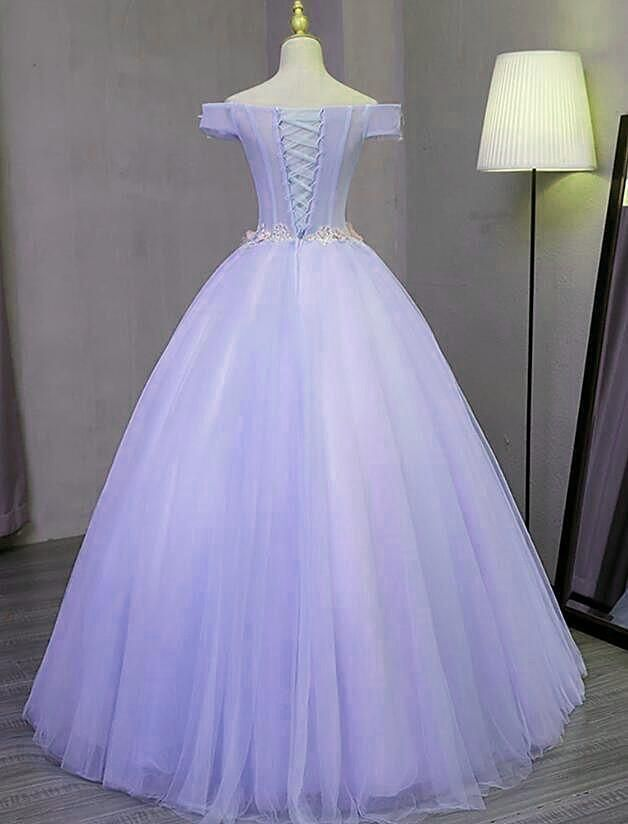 Charming Purple Off Shoulder Party Dress, Sweet 16 Gown