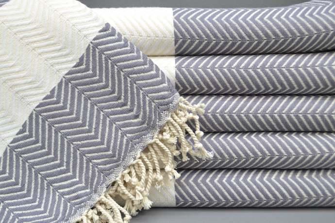 Turkish Towel, Peshtemal Towel, Beach Towel, Bridesmaid Gift, Gray Herringbone