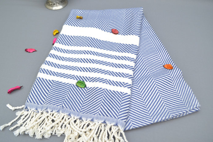 Turkish Towel, Best Quality Towel, Teal Herringbone Towel, Sauna Towel, ,