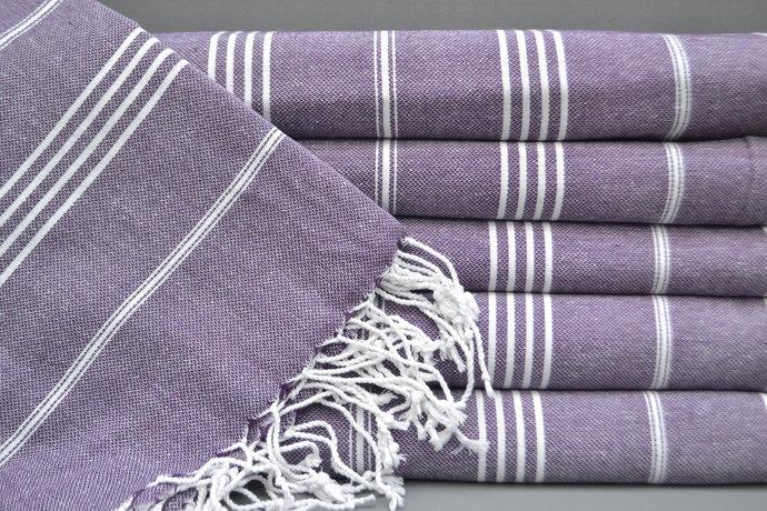 Turkish Towel, Purple Striped Towel, Bath Towel, High Quality Towel, Sauna