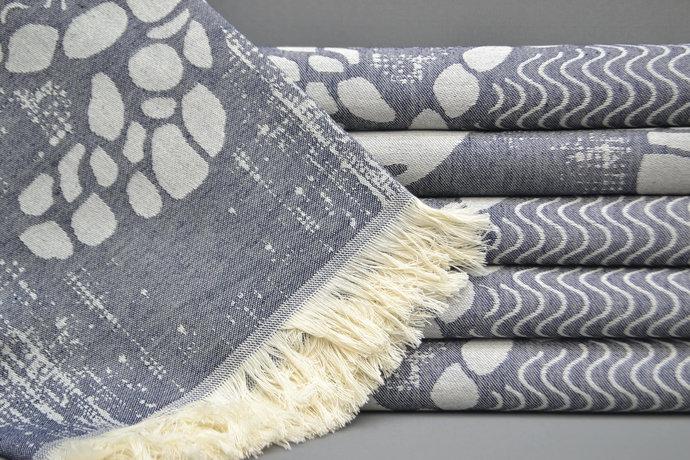 Turkish Towel, Turkey Towel, Yoga Towel, Bridesmaid Gift, Navy Blue Patterned