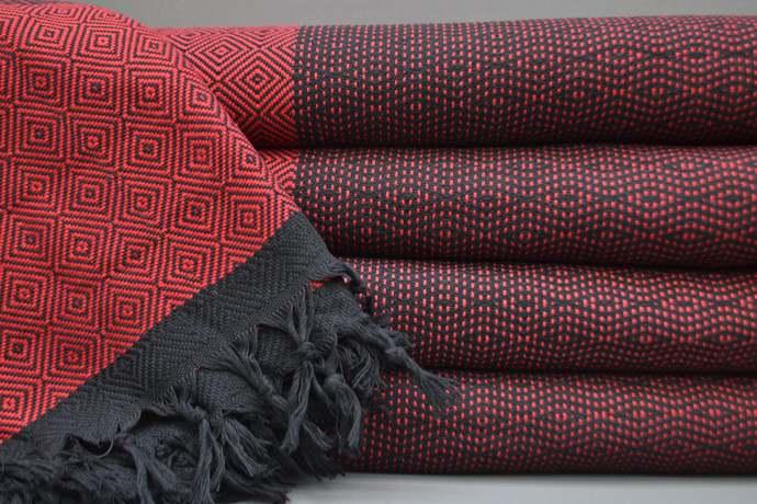 Turkish Towel, Turkish Blanket, Throw, Bed Cover, Bath Towel, Big Towel, Red