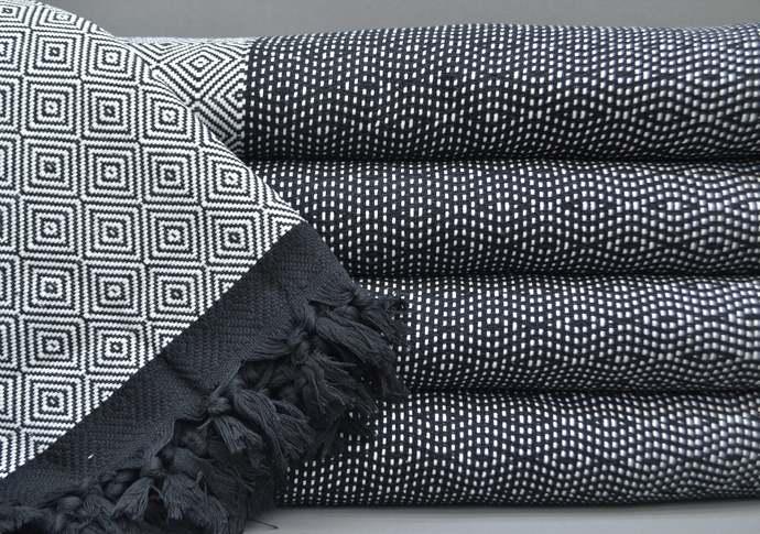 Turkish Towel, Throw ,Bedding, Turkish Blanket, Bath Towel, White and Black