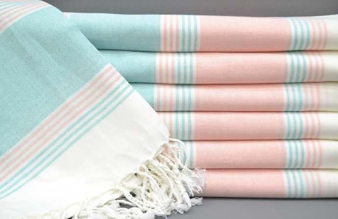 Turkish Towel, Peshtemal Towel, Beach Towel, Mint Green Striped Towel, Bath