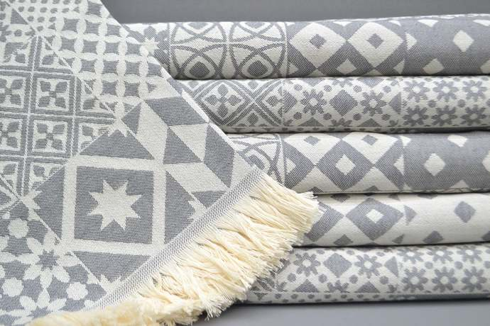 Turkish Towel, Spa Towel, Bridesmaid Gift, Aztec Towel, Gray Patterned Towel,
