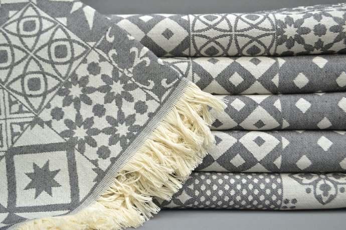 Turkish Towel, Kitchen Towel, Table Cloth, Black Patterned Towel, Bath Towel,