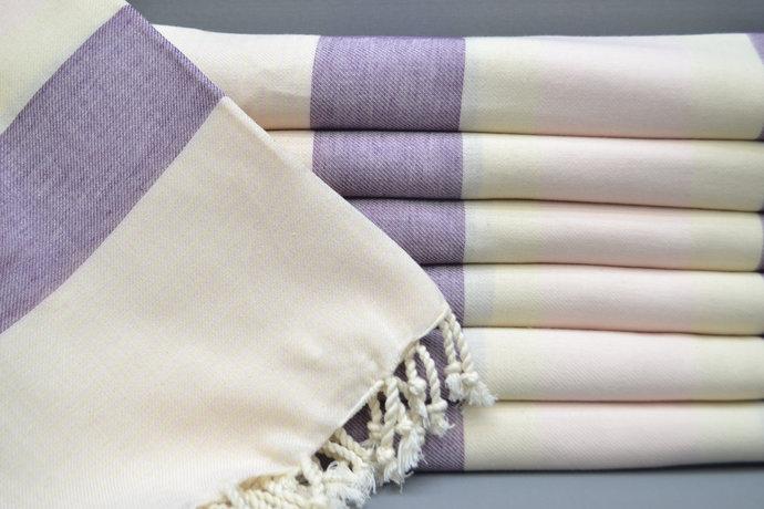 Turkish Towel, Spa Towel, Bridesmaid Gift, Beach Towel, Purple Striped Towel,