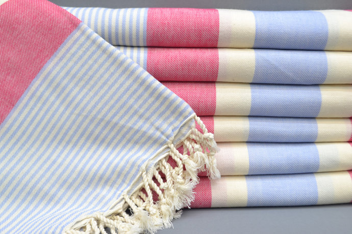 Turkish Towel, Bridesmaid Gift, 100x180, Fuchsia Striped Towel, Bath Towel,