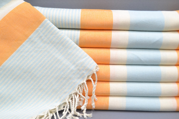 Turkish Towel, Bath Towel, Bridesmaid Gift,Orange striped Towel, Beach Towel,