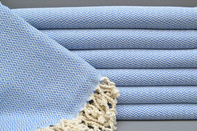 Turkish Towel, Spa Towel, Turkish Peshtemal Blue Diamond Towel, Bath Towel,