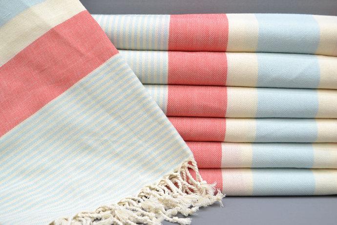 Turkish Towel, Spa Towel, Bridesmaid, Fuschia and Blue Striped Towel, Bath