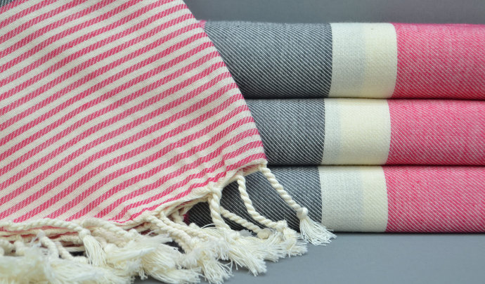 Turkish Towel,Beach Towel, Fuschis and Gray Striped Towel, Bath Towel,