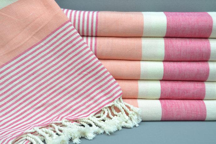 Turkish Towel, Spa Towel,Beach Towel, Bridesmaid Gift, 100x180 cm, Salmon and