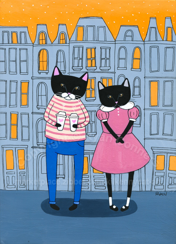 Love Cats Coffee Date Original Cat Folk Art Painting