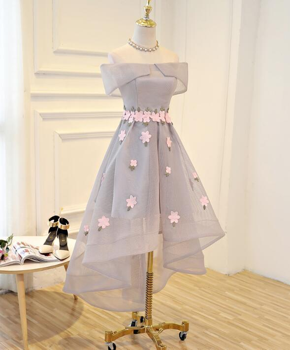 Light Grey High Low Tulle Party Dress, Grey Bridesmmaid Dress
