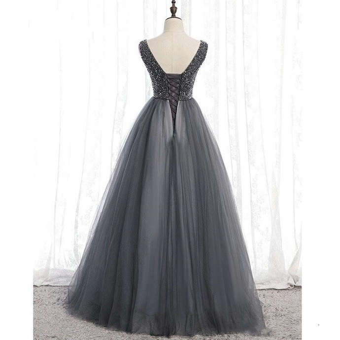 Charming Grey  V Neck A Line Floor Length, Beaded Party Dress 2020