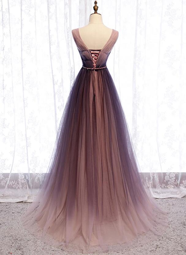 Beautiful Tulle Gradient V-neckline Long Prom Dress, A-line Party Dress
