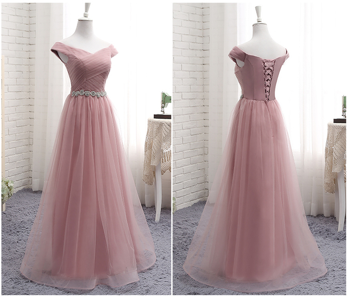 Light Pink Off Shoulder Sweetheart Beaded Tulle Gown, Long Prom Dress 2020