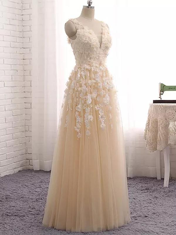 Gorgeous Champagne Tulle Floral Lace Prom Gown, Party Dress 2020