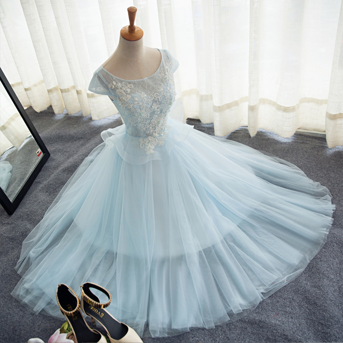 Charming Light Pink Lace and Tulle Party Dress, Short Prom Dress