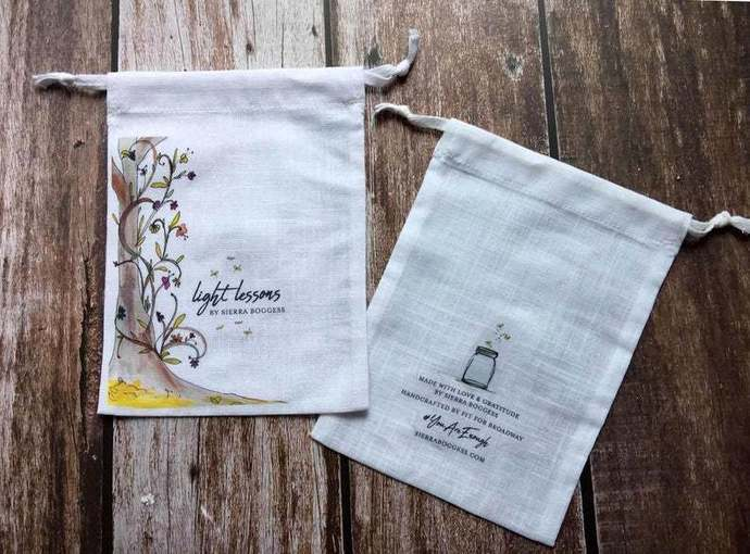 Custom white soft cotton linen drawstring merchandise pouch with image