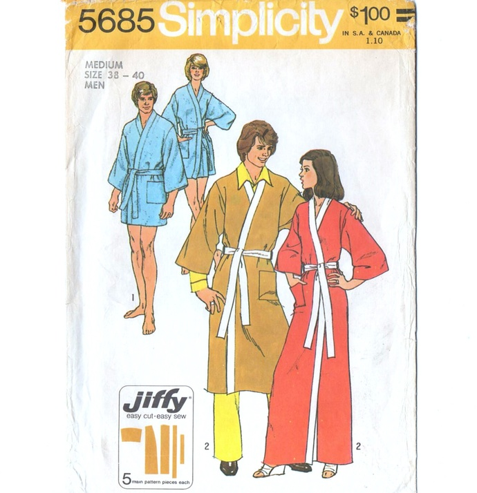 Simplicity 5685 Men's Jiffy Kimono Robe 70s Vintage Sewing Pattern Size Med