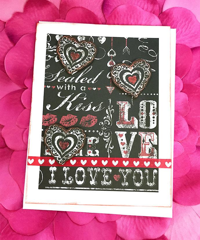 Sealed with a Kiss, I Love You Greeting, Note Card, Hearts, XOXO, Kiss, Hug,