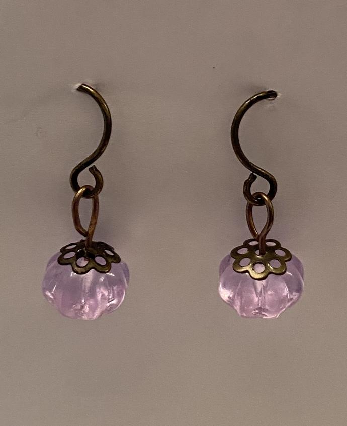 Purple earrings lavender amethyst flower design beads