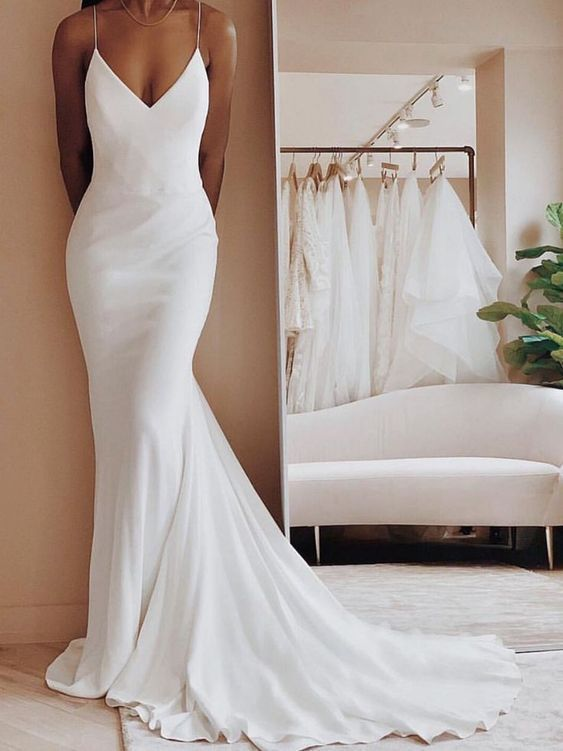Long Ivory Satin Spaghetti Strap V-Neck Mermaid Formal Dress With Sweep