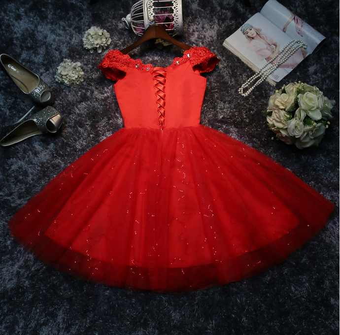 Beautiful Red Tulle Short Party Dress, Red Cute Formal Dress 2020