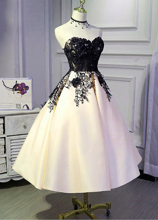 Stunning Champagne Tea Length Vintage Style Party Dress, Satin Wedding Party