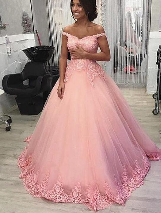 Elegant Pink Off-the-shoulder Neckline Floor-length Sweet 16 Gown, Pink Party