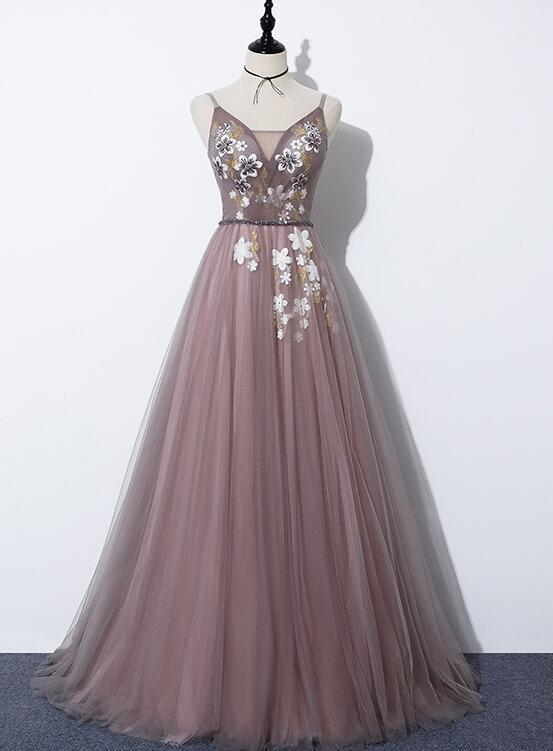 Beautiful Pink Tulle V-neckline Long Party Gown,Pink Prom Dress 2020