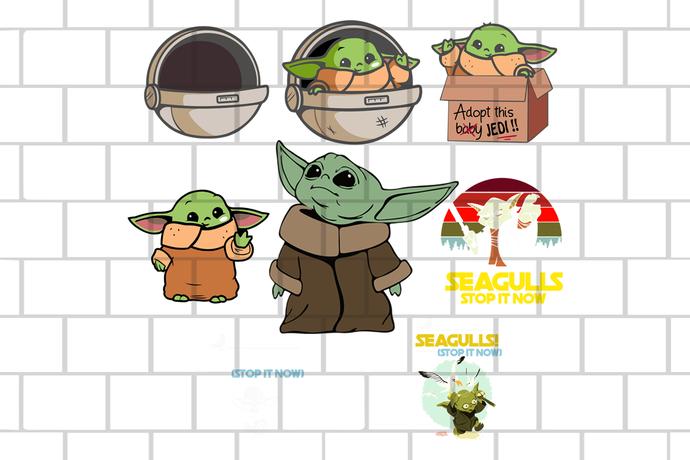 Baby Yoda Mandalorian Star Wars 2020 Land Disney + SVG DXF EPS Png Vector Cut