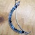 Hammered metal crescent moon- blue and brown agate