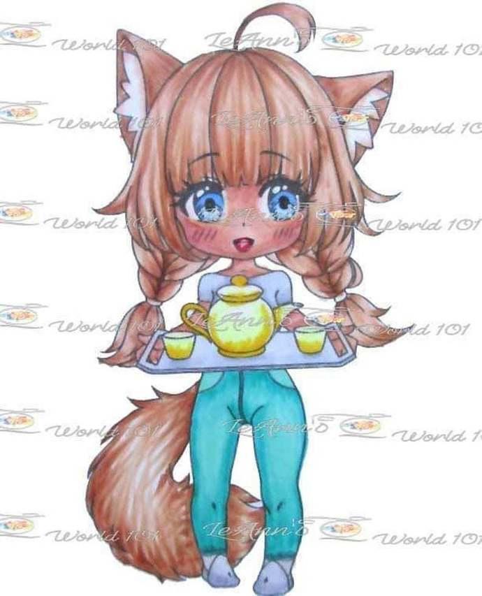 Tea With Foxy - Digital Stamp