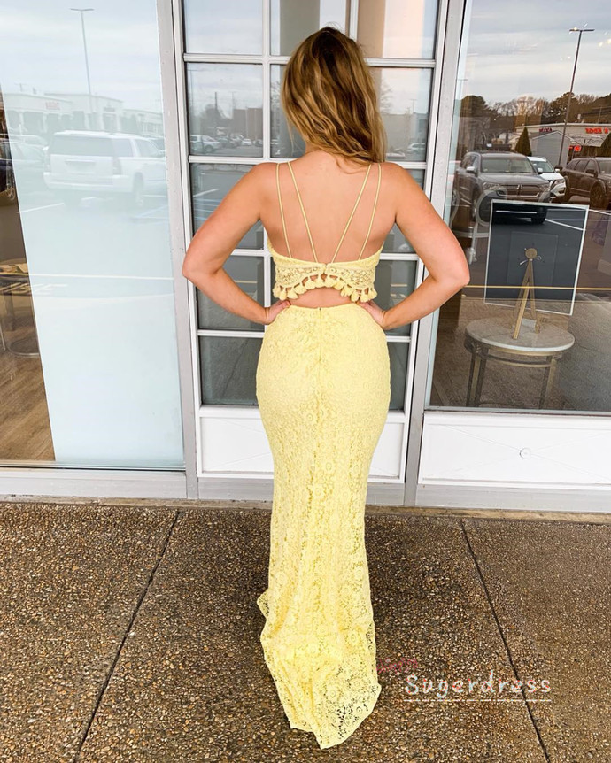 Two Piece Mermaid Lace Prom Dress with Tassels 8002106
