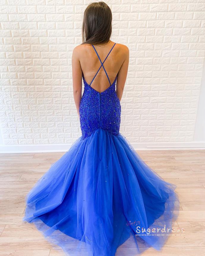 Ball Gown Beaded Mermaid Plum Evening Dress 8002112
