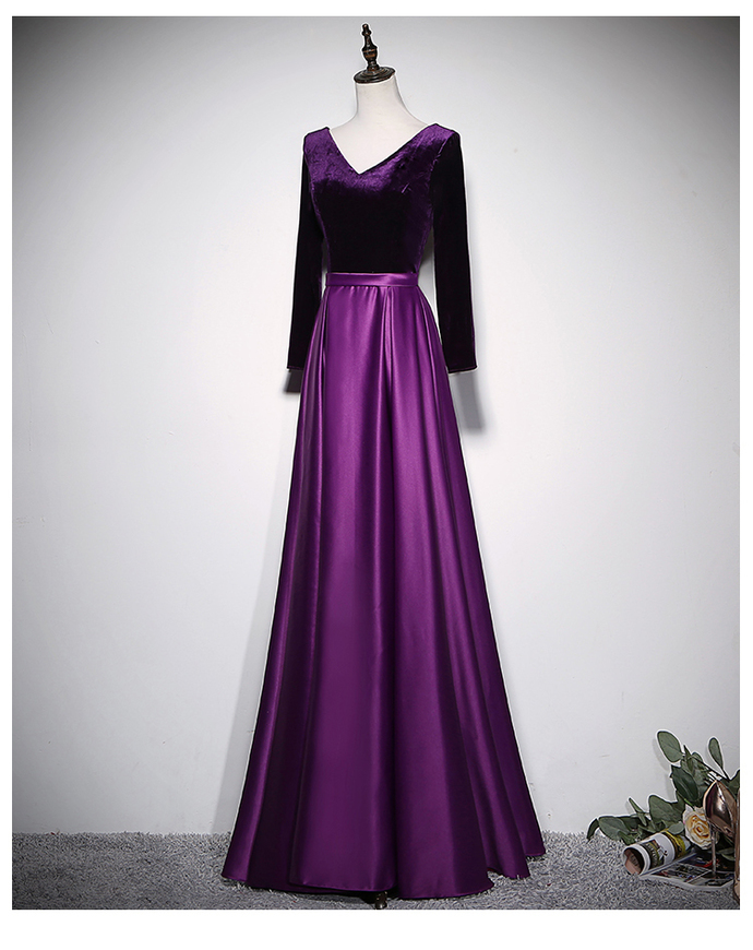 Beautiful Purple Velvet and Satin Long Sleeves Bridesmaid Dress, Long Party